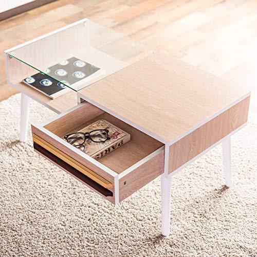 システムK センターテーブル 収納付きガラステーブル 引き出し ローテーブル 木製 ホワイトA