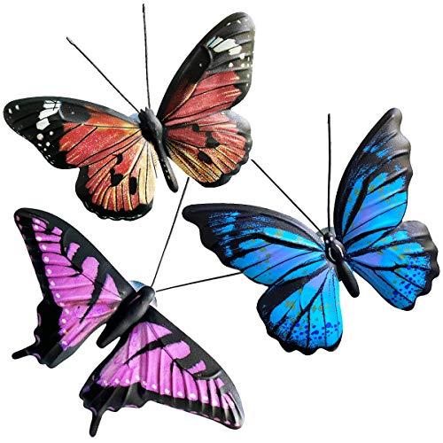 9. 3 Pack Metal Butterfly Wall Decor Sculpture
