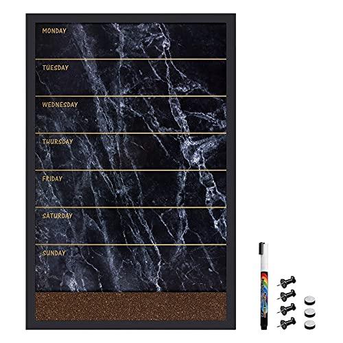 Navaris Kombitafel aus Magnettafel und Pinnwand - Memoboard 60x40cm magnetische Tafel und Kork Pinnboard - inkl. Marker Pins Magnet Montagezubehör