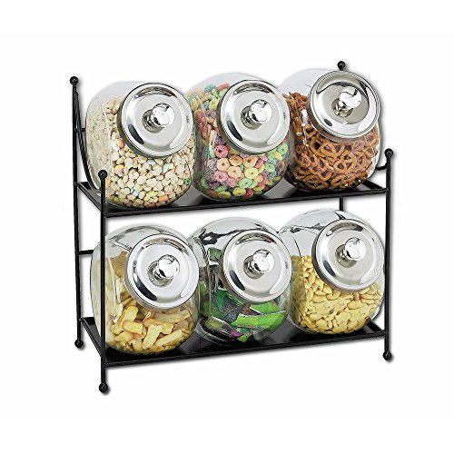 "Glass Jar Display Rack, Black Metal with Six 1/2 gal Clear Glass Jars - 16 3/4""W x 7""D x 15""H"