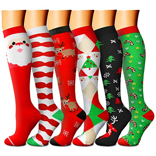 Christmas Compression Socks for Women & Men 15-20 mmHg, Best for Running, Athletic, Edema, Travel (Small/Medium, 07 Red/Red/Green/Green/White/Black)