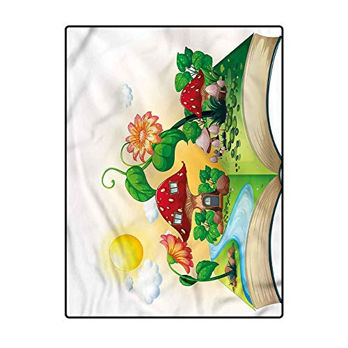 Cartoon Polyester Rug for Luxury Carpets for Floors, Bed and Living Room Pop up Book Mushroom House 4.5 x 5.2 Ft