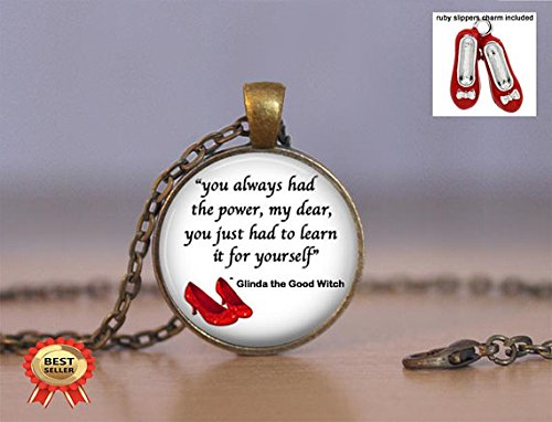 Wizard of oz Necklace Jewelry - You Always Had The Power - Choose Pendant, Keychain Or Necklace - Ruby Slippers Charm Included - Gift Idea