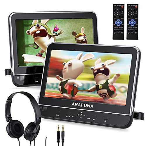 Dual Portable DVD Player for Car with Headrest Mount, Headrest DVD Player for Kids with Region Free, Last Memory, HDMI Input & AV in/Out, Support USB/SD, Great for Car Travel(2 X 10.1 DVD/CD Players)