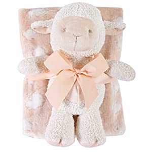 Stephan Baby Snuggle Fleece Crib Blanket and Plush Toy Set Available in 13 Designs, Pink Lamb