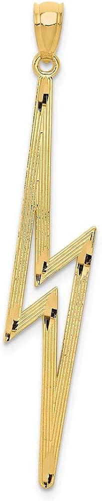 14K Yellow Gold Polished Bolt Pendant NEW Rare before selling ☆ Shiny-Cut Lightning