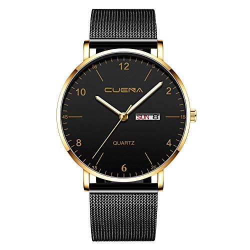Quartz horloge heren polshorloges, heren magneet van roestvrij staal met kalender eenvoudige casual kwartshorloge Evansamp