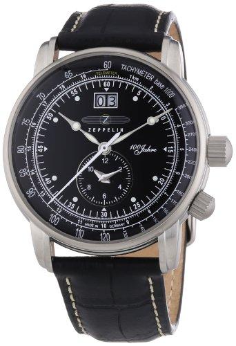 Zeppelin 100 Jahre Zeppelin - Reloj analógico de caballero de cuarzo con correa de piel negra