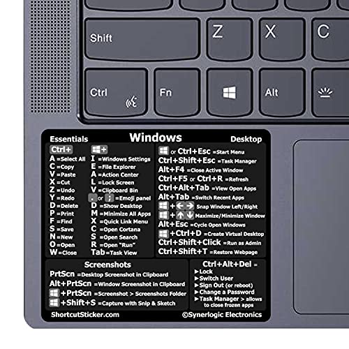 """SYNERLOGIC Windows 10/11 Reference Keyboard Shortcut Sticker - Black Vinyl (Made in USA), Temporary Adhesive 3""""x2.55"""" for Any PC Laptop or Desktop (Black)"""