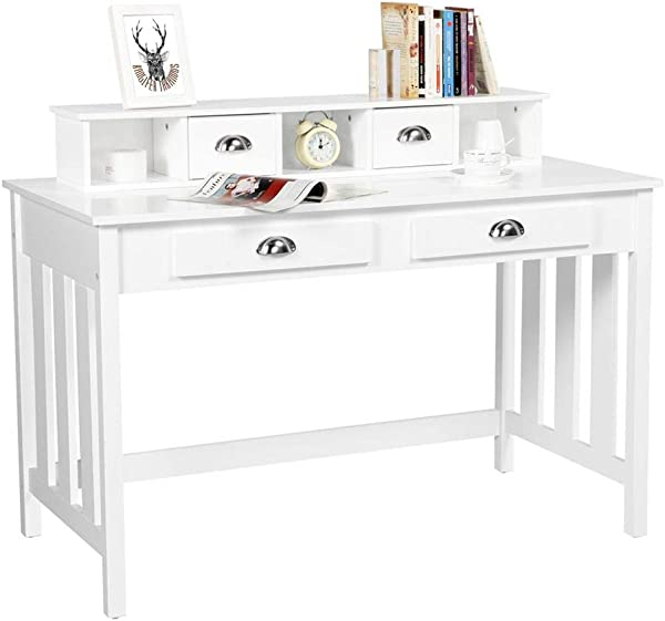 Yaheetech Writing Desk Work Station Removable Floating Organizer Home Office Computer Desk For Girls Wood Organizer With 4 Drawers Solid Pine Wood Legs White
