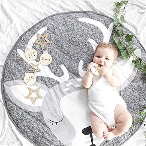 Bcaer Alfombrilla de Crawling bebé 35.4 x 35.4 Pulgadas Play Manta Play Play Mat Mat Niños Bebé Niños Actividad Redondeo,Elk