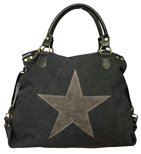 STERN Star Damen Tasche Canvas Stoff Fashion Shopper Henkeltasche Schultertasche (Schwarz)