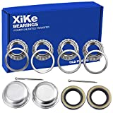 XiKe 2 Set Fits for 1'' Axles Trailer Wheel Hub Bearings Kit, L44643/L44610 and 12192TB Seal OD 1.980'', Dust...