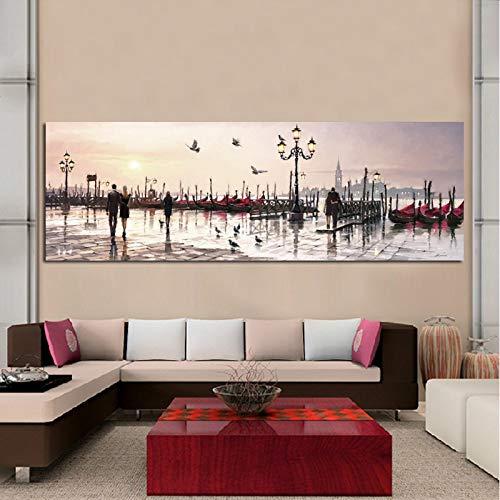 KWzEQ Decoración de la Sala de Estar con Paisaje Abstracto sobre Lienzo para Amantes y Pintura al óleo del Paisaje de la Ciudad,Pintura sin Marco,75x225cm