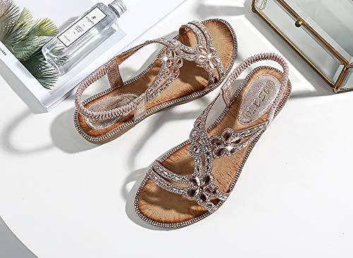 Sandalias de diamante para mujer, de ajuste ancho, sandalias planas de tacón bajo con cuentas de diamantes de imitación de verano con correa para el tobillo, sandalias adornadas, B, 37