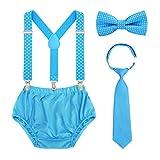Baby 1./2. Geburtstag Kuchen Smash Outfit Set Einstellbare Hosenträger und Fliegen Baby Pumphose zum Geburtstag Fotoshooting (Himmelblauer Punkt)