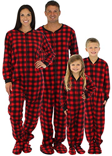 SleepytimePjs His and Hers Matching Red Plaid Fleece Footed Pajamas