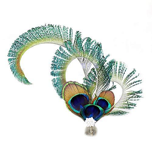 TININNA Reto Böhmische Ethnische Pfau Feder Haarband Haarreif Kopfband Boho-stil Hippie Stirnband Kopfschmuck Haarschmuck für Fraun Festival Karneval Kostüm Party Zubehör