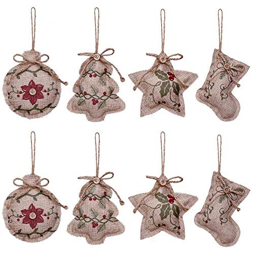 Ctzrzyt Rustic Christmas Tree Ornaments Stocking Decorations Burlap Country Christmas Stocking Ball Tree Bell with Red and Green Holly Leaves for Holiday Party Decor-8PCS