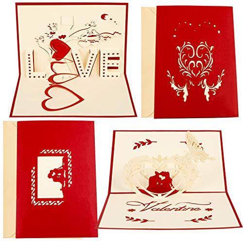 RosewineC 2 Stück 3D-Popup-Grußkarte Geburtstag,Valentinstag, Liebeskarte, Hochzeitstag Grußkarten, Muttertagskarte,Geschenkkarte für Freundin oder Mutter