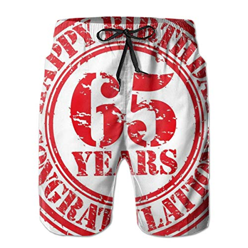 Men's Big and Tall Swim Trunks Beachwear Drawstring Summer Holiday,Sixty Five Years Old Congrats Symbol Icon Grunge Style Rubber Stamp Design,3D Print Shorts Pants,XL