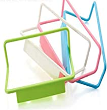 4ピースタオルラックキャビネットドアディッシュタオルバーラックキッチンプラスチックパンチフリーラグラック浴室ラック破片 HangingStorage ラック-ランダムカラー