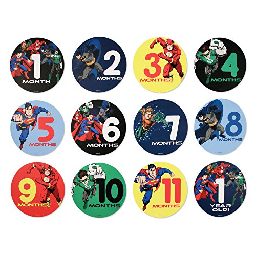 Disney Boys Baby Monthly Milestone Cards, Photo Prop Belly Stickers, Justice League, No Size
