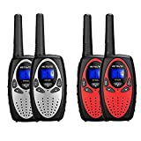 Retevis RT628 Walkie Talkies for Kids (Silvery,2 Pack) Bundle RT628 Kids Walkie Talkies (Red,2 Pack),Gift Toy for Boys and Girls to Outdoor Adventure Game,Vacation Travel