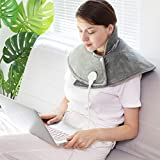 Fast-Heating Electric Heating Pads for Neck Shoulder Pain Relief, Warm Back Heat Pad, Soft Heating Wrap with 3 Heat Settings for Sorness Cramps Relief, Heat Therapy Auto Shut Off, Washable,CE Approved