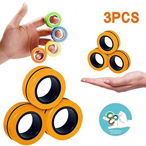 Alalala Magnetringe Anti-Stress-Spiel Fidget, Magnetischer Armband-Ring Dekomprimieren Spielzeug, Stress Relief Magnetic Finger Spinner Ring, Magic Ring Props -Für Dekomprimierung-Orange