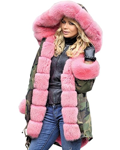 Roiii Women Winter Warm Thick Faux Fur Coat Hood Parka Long Jacket Size 8-20 (10,Pink)
