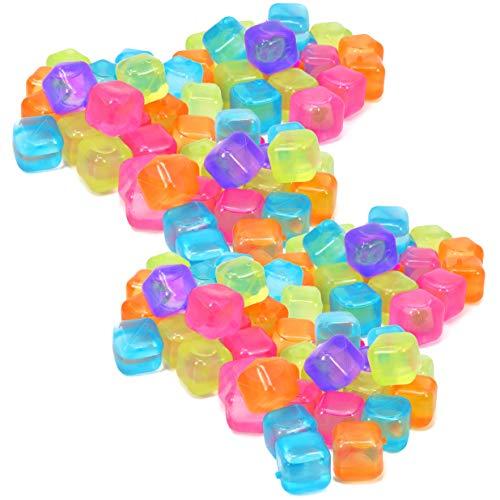 com-four® 120x Wiederverwendbare Eiswürfel in verschiedenen Farben, Party-Eiswürfel zum Kühlen von Getränken (120 Stück - Würfel)