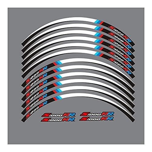 Protector DE Tanque Moto para B-M-W S1000RR Calcomanías de Rueda de Motocicleta Pegatinas Reflectantes Rayas de llanta 4 Colores (Color : C)