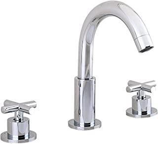 JiuZhuo Chrome Widespread Double Cross Handle Bathroom Sink Faucet,with Goosenecked Aerator Spout,Solid Brass