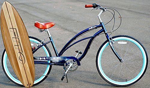 Fito Anti Rust Light Weight Aluminum Alloy Frame Marina Alloy Shimano 7 Speed 26' Wheel Womens Beach Cruiser Bike Bicycle Midnight Blue and Turquoise Rims