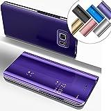EMAXELERS Funda Samsung Galaxy S6 Edge Plus Espejo Caja de Maquillaje con Marco de Cuero de la PU Flip Protectora de Cuerpo Completo para Samsung Galaxy S6 Edge Plus Mirror PU : Purple