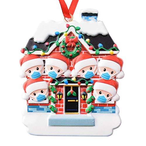 UnifiDigital Quarantine Christmas 2020 Premium 100% Resin Family Ornaments with Included Marker For Customization, For Family Sizes From 2 to 6 Members (6 Family Members, Quarantine Christmas 2020)