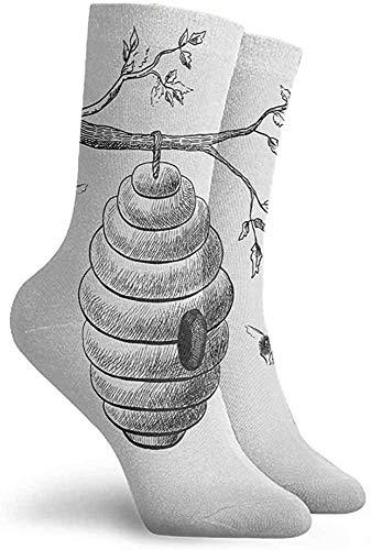Yesbnow Nature Patterned Socks Hiking Walking Socks Grey and Vermilion Short Socks Athletic Socks Calcetines cortos calcetines deportivos