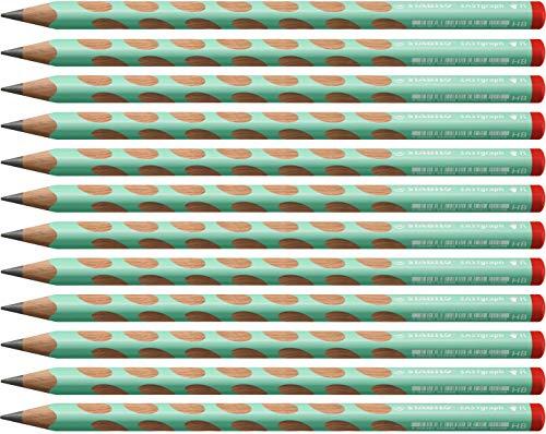 Ergonomischer Dreikant-Bleistift für Rechtshänder - STABILO EASYgraph in pastellgrün - 12er Pack - Härtegrad HB