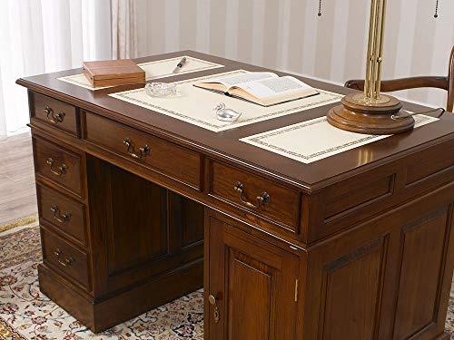 Simone Guarracino Partner Schreibtisch Victorian Englischer Stil Büro Doppelschreibtisch 120 cm walnuss Kunstleder Champagner
