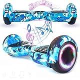 Magic Vida Skateboard Électrique 6.5 Pouces Bluetooth Puissance 700W avec Deux Barres LED Gyropode Auto-Équilibrage de Bonne qualité pour Enfants et Adultes(Bleu Camouflage)