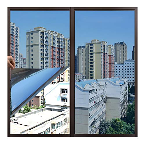 bandezid Ventanas Cristal Vinilo Pet Película Adhesiva Lámina de Espejo para Unidireccional Protector de Privacidad Anti UV y Anti IR para Hogar y Oficina-Azul Cristal de Hielo 1.1x2m