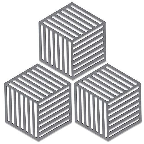 SAYOK Silikon-Topfuntersetzer für heiße Speisen – Dicke, langlebige, Flexible heiße Pads für Küche, hitzebeständige Topfmatten für heiße Töpfe und Pfannen (Grau Streifen, 3 Stück)