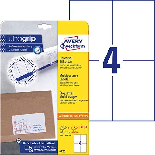 AVERY Zweckform 6120 Universal Etiketten (100 plus 20 Klebeetiketten extra, 105x148mm auf A4, Papier matt, bedruckbare Versandetiketten, selbstklebende Versandaufkleber mit ultragrip) 30 Blatt, weiß