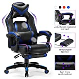 Kealive Gaming Chair Reclining Racing Chair with Footrest, Ergonomic Office Chair with Breathable PU Leather and High Back, Adjustable Swivel Computer Chair with Headrest and Lumbar Support