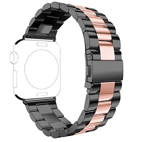 Bracelet pour Apple Watch 42MM, Rosa Schleife Replacement bands Bracelet Montre Connectees Wristband avec Boucle Fermoir Métallique acier inoxydable Bande pour Apple iWatch Series 1/2/Sport/Edition
