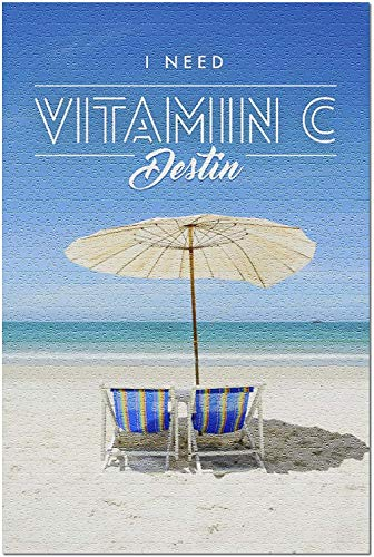 ACCYT HD Destin Florida - Necesito Vitamina C - Sillas de Playa y sombrilla 100298 (¡Rompecabezas de 1000 Piezas Premium para Adultos 19x27 Hecho en EE. UU.!)
