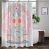 XCBN Cortina de Ducha de baño de Conejo de Dibujos Animados Cortina de Ducha de Animal Lindo Tela Impermeable decoración del hogar Cortina de Pantalla A2 150x200cm