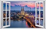 DesFoli Köln Dom City 3D Look Wandtattoo 70 x 115 cm