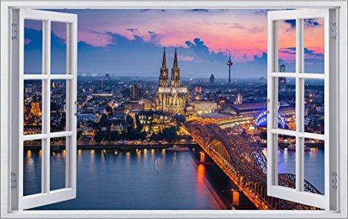 DesFoli Köln Dom City 3D Look Wandtattoo 70 x 115 cm Wanddurchbruch Wandbild Sticker Aufkleber F039